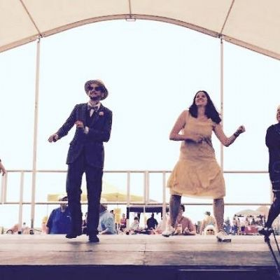 Cinque Ports Lindy Hoppers: Bexhill Roaring 20s - July 2016 - Cinque Ports Lindy Tappers on stage at the Roaring twenties day: Sophie, Dru, Helen & Nicola - Photo from Nicola Claire