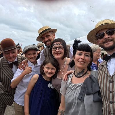 Cinque Ports Lindy Hoppers: Bexhill Roaring Twenties 2017 - Charleston world Record attempt - The troupe waiting to start the record attempt - Photo by Claire Pooley