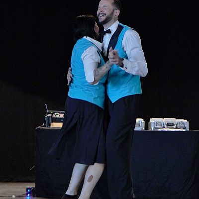 Cinque Ports Lindy Hoppers: Bexhill Vintage Fair at the De Le Warr Pavillion - June 2017 - Dapper Dru & Sugarfoot Sophie performing the Opus One routine (off camera: Gypsy John & Krazy Karen) - Photo by Dominique Huxley