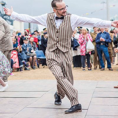 Cinque Ports Lindy Hoppers: Chatham Salute to the 40s - September 2016 - Dapper Dru dancing at the Grand Finale on the Saturday evening - Photo by Chris Pickett Photography