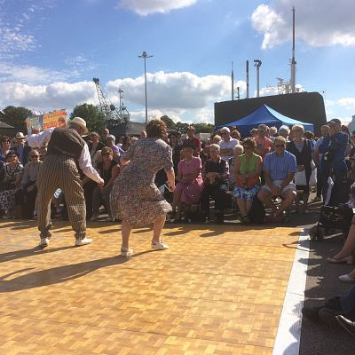 Cinque Ports Lindy Hoppers: Chatham Salute to the 40s - September 2015 - View of the audience whilst Gypsy John & Krazy Karen perform the Dan Collins Shim Sham