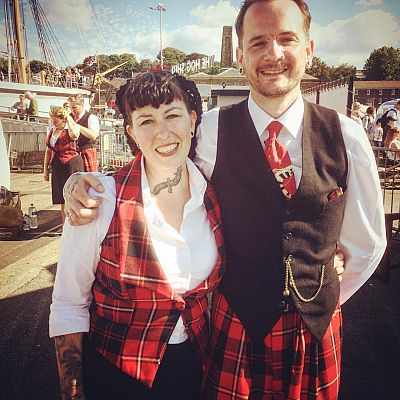 Cinque Ports Lindy Hoppers: Chatham Salute to the 40s - September 2015 - Dapper Dru & Sugarfoot Sophie in the tartan outfits