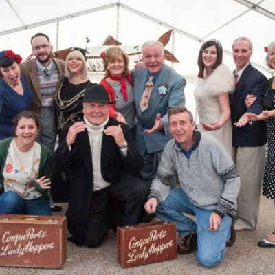Cinque Ports Lindy Hoppers: Hastings Herring festival November 2016 - Posing for the local rag - Photo from Hastings & St Leonards Observer