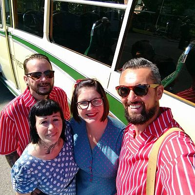 Cinque Ports Lindy Hoppers: Isle of Wight - Havenstreet 1940s Weekend - July 2017 - Dru, Sophie, Nikkie & Karl - Photo by Karl Cooke