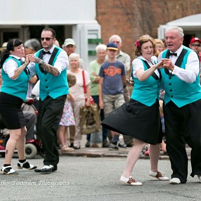 Cinque Ports Lindy Hoppers: Rye Jazz Festival August 2015 - Street performing the Opus One routine at the 2015 Rye Jazz Festival - Sugarfoot Sophie, Dapper Dru, Krazy Karen & Gypsy John - Photo by Stuart Kirk - Tenterden Photography