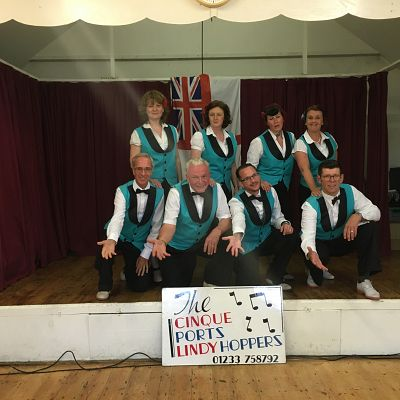 Cinque Ports Lindy Hoppers: Queens 90th Birthday celebrations, Sissinghurst - June 2016 - Lindy Legs Laura & Al Anchovy, Gypsy John & Krazy Karen, Dapper Dru & Sugarfoot Sophie, Doodlebug Donna & Tall Paul posing on stage