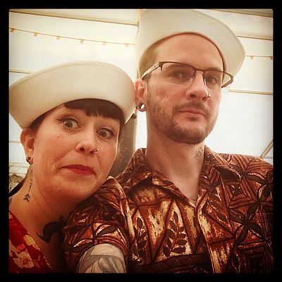 Cinque Ports Lindy Hoppers: Tenterden KESR 1940s Steam weekend May 2015 - Dapper Dru & Sugarfoot Sophie as Hawaiian sailors