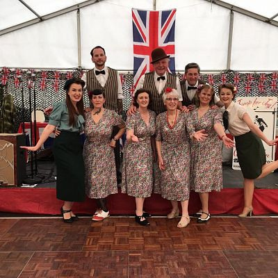 Cinque Ports Lindy Hoppers: Tenterden KESR 1940s Steam weekend May 2016 - In deckchair suits with Miss holiday Swing and one of 'My favourite Things'