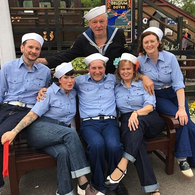 Cinque Ports Lindy Hoppers: Tenterden KESR 1940s Steam weekend May 2016 - Messing about in Deck Sailor outfits: Jim & Jenny, Dapper Dru & Sugarfoot Sophie, Gypsy John & Krazy Karen