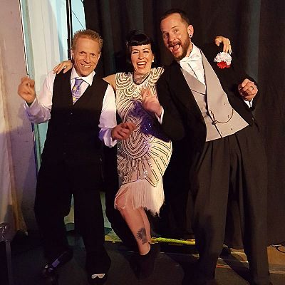Cinque Ports Lindy Hoppers: War and Peace Revival 2017 at the Hop Farm, Kent - Al, Sophie and Dru in the wings in the Victory Marquee for cabaret on the Saturday night - Photo by Louise Pietrzykowska