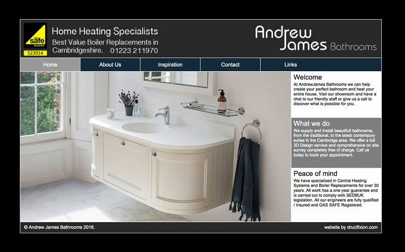 Bathroom Showrooms East Sussex web design & development portfolio - andrew james bathrooms