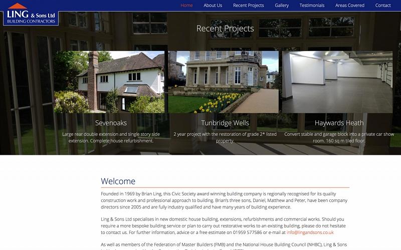 Website Design And Development Screenshot Of Ling And Sons Ltd Building Contractors